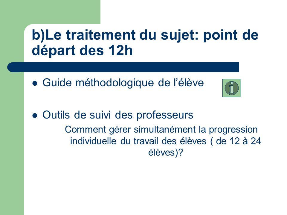 b)Le traitement du sujet: point de départ des 12h Guide méthodologique de lélève Outils de suivi des professeurs Comment gérer simultanément la progression individuelle du travail des élèves ( de 12 à 24 élèves)