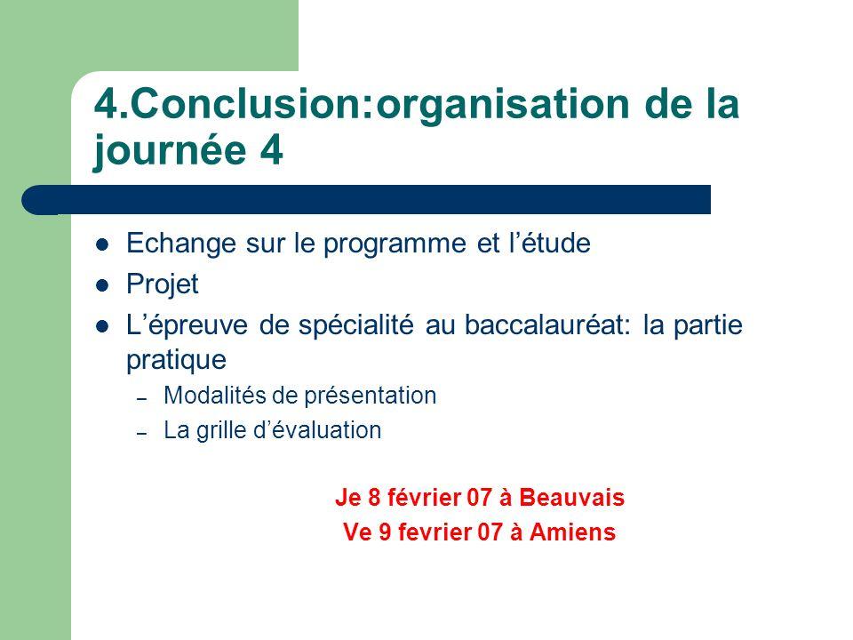 4.Conclusion:organisation de la journée 4 Echange sur le programme et létude Projet Lépreuve de spécialité au baccalauréat: la partie pratique – Modal