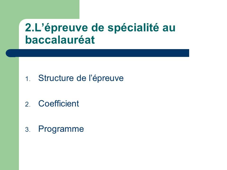 2.Lépreuve de spécialité au baccalauréat 1. Structure de lépreuve 2. Coefficient 3. Programme
