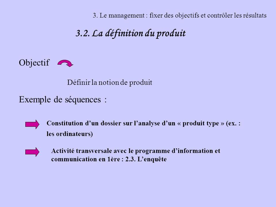 3. Le management : fixer des objectifs et contrôler les résultats 3.2. La définition du produit Objectif Exemple de séquences : Définir la notion de p