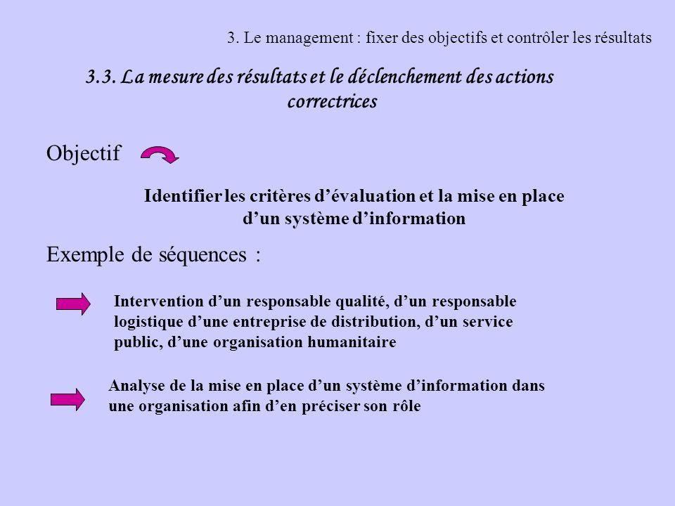 3. Le management : fixer des objectifs et contrôler les résultats 3.3. La mesure des résultats et le déclenchement des actions correctrices Objectif E