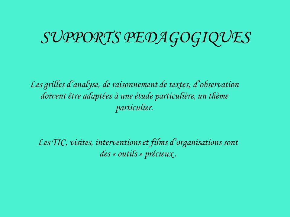 SUPPORTS PEDAGOGIQUES Les grilles danalyse, de raisonnement de textes, dobservation doivent être adaptées à une étude particulière, un thème particuli
