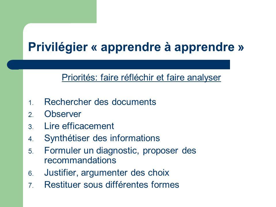 Privilégier « apprendre à apprendre » Priorités: faire réfléchir et faire analyser 1.