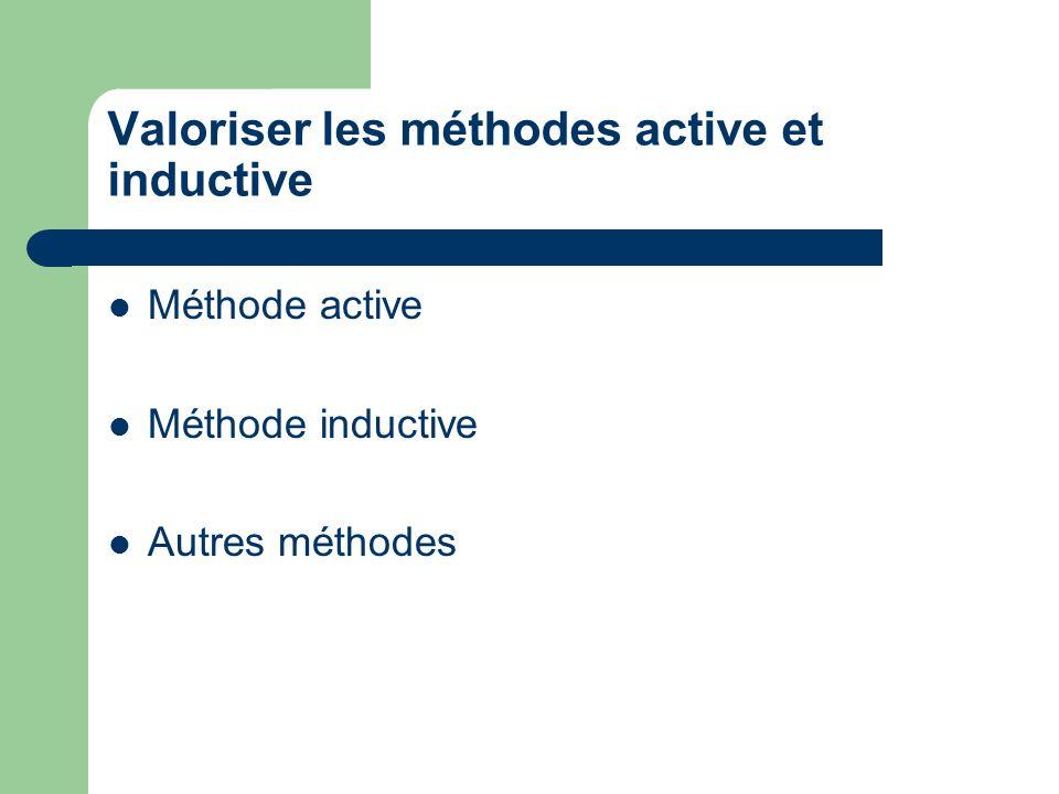 Valoriser les méthodes active et inductive Méthode active Méthode inductive Autres méthodes