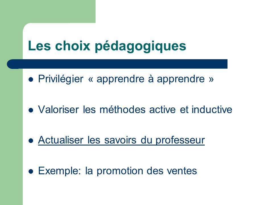 Les choix pédagogiques Privilégier « apprendre à apprendre » Valoriser les méthodes active et inductive Actualiser les savoirs du professeur Exemple: la promotion des ventes