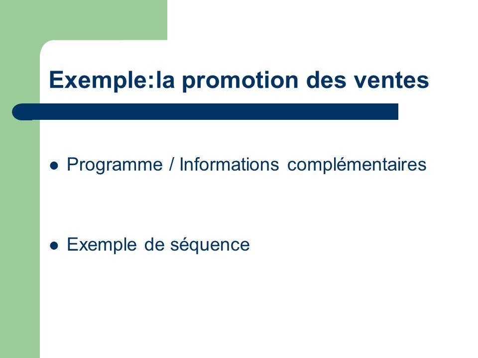 Programme / Informations complémentaires Exemple de séquence