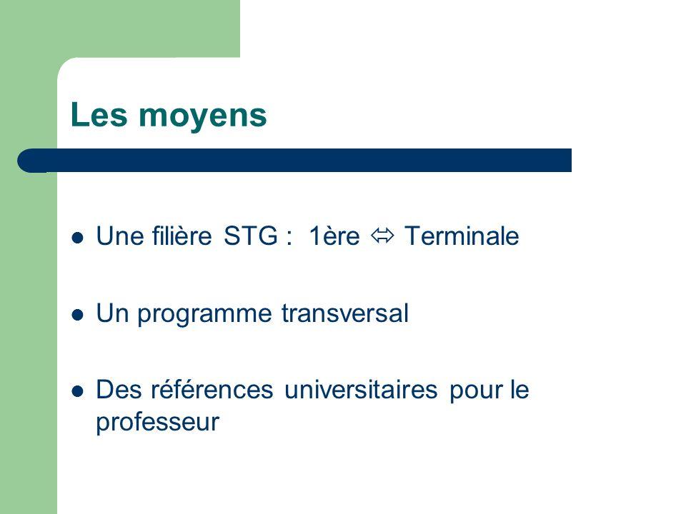 Les moyens Une filière STG : 1ère Terminale Un programme transversal Des références universitaires pour le professeur