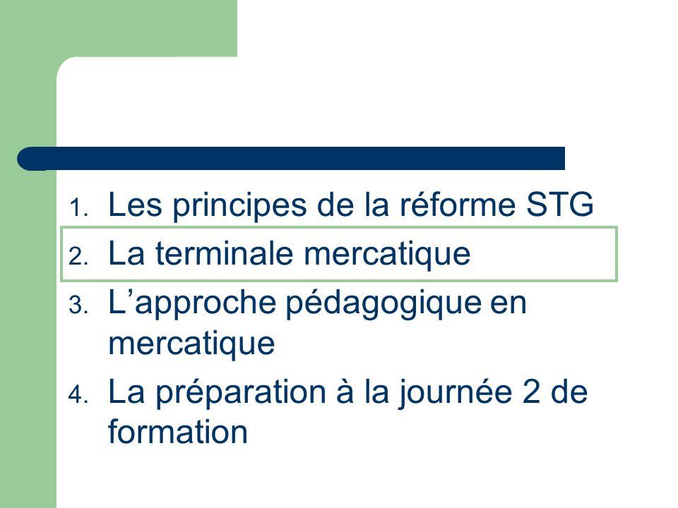 1.Les principes de la réforme STG 2. La terminale mercatique 3.