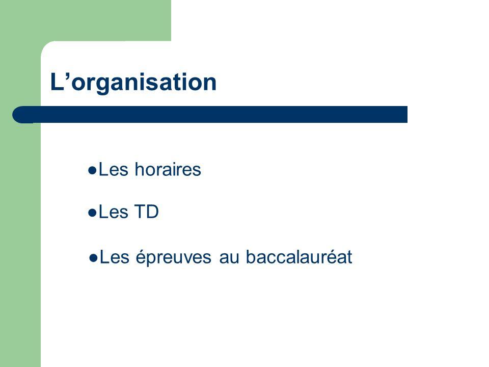 Lorganisation Les TD Les épreuves au baccalauréat Les horaires