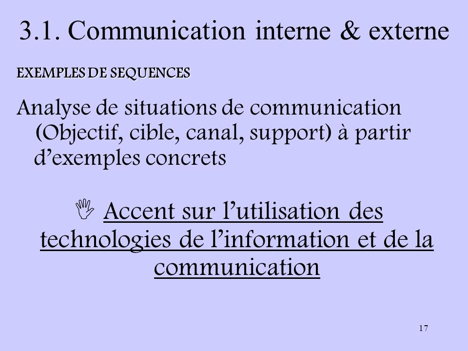 17 3.1. Communication interne & externe Accent sur lutilisation des technologies de linformation et de la communication EXEMPLES DE SEQUENCES Analyse