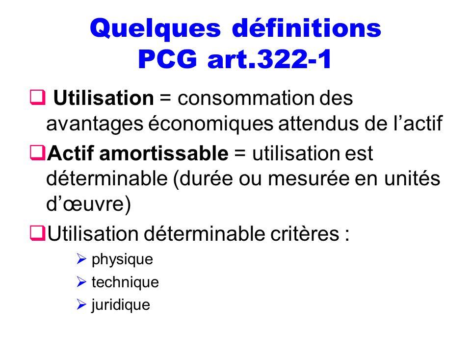 Quelques définitions PCG art.322-1 Utilisation = consommation des avantages économiques attendus de lactif Actif amortissable = utilisation est déterm