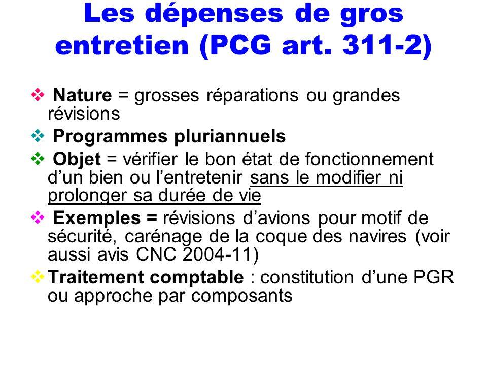 Les dépenses de gros entretien (PCG art. 311-2) Nature = grosses réparations ou grandes révisions Programmes pluriannuels Objet = vérifier le bon état