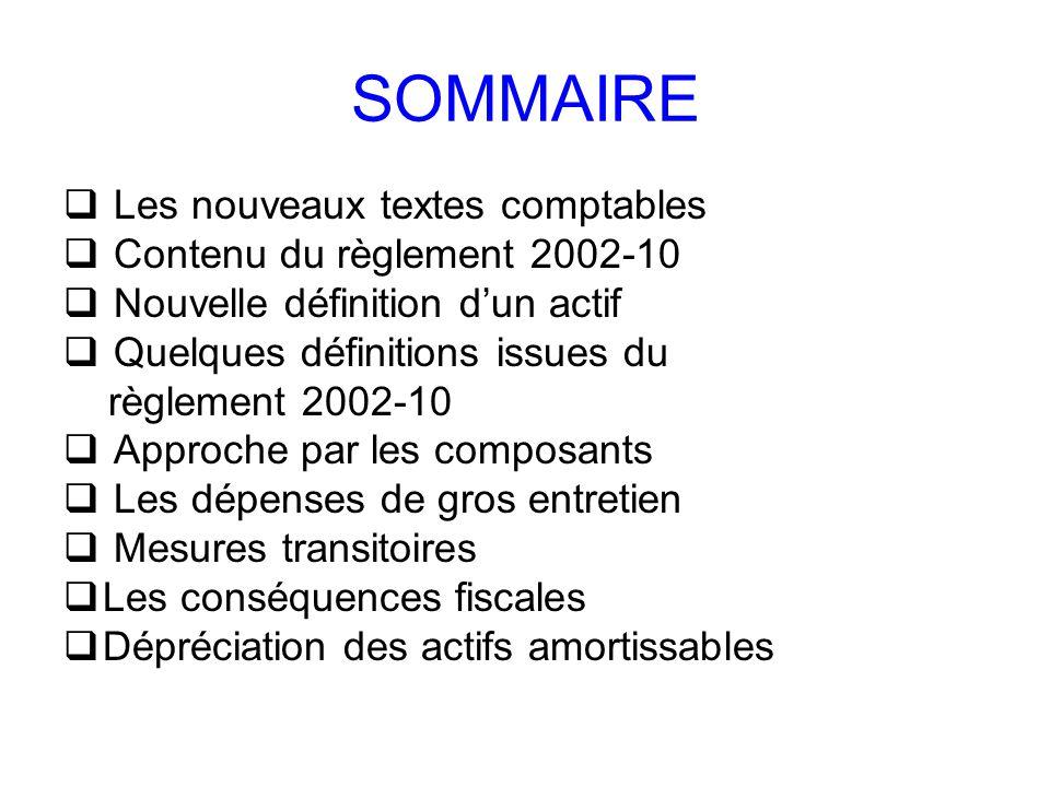 SOMMAIRE Les nouveaux textes comptables Contenu du règlement 2002-10 Nouvelle définition dun actif Quelques définitions issues du règlement 2002-10 Ap