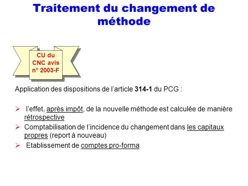Traitement du changement de méthode Application des dispositions de larticle 314-1 du PCG : leffet, après impôt, de la nouvelle méthode est calculée d