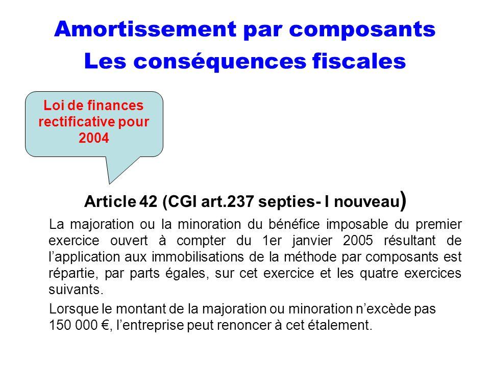 Amortissement par composants Les conséquences fiscales Article 42 (CGI art.237 septies- I nouveau ) La majoration ou la minoration du bénéfice imposab