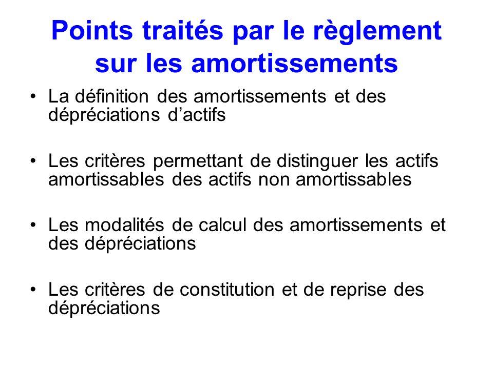 Points traités par le règlement sur les amortissements La définition des amortissements et des dépréciations dactifs Les critères permettant de distin