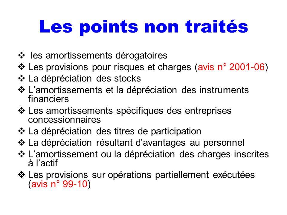 Les points non traités les amortissements dérogatoires Les provisions pour risques et charges (avis n° 2001-06) La dépréciation des stocks Lamortissem