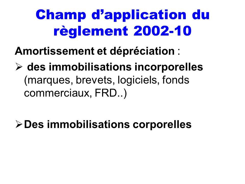 Champ dapplication du règlement 2002-10 Amortissement et dépréciation : des immobilisations incorporelles (marques, brevets, logiciels, fonds commerci