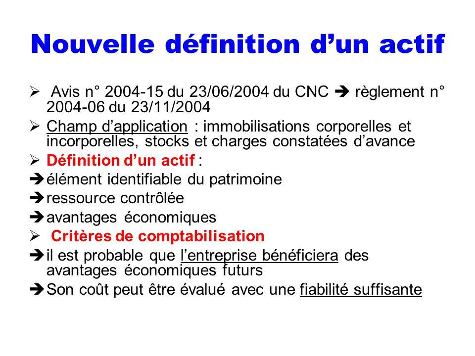 Nouvelle définition dun actif Avis n° 2004-15 du 23/06/2004 du CNC règlement n° 2004-06 du 23/11/2004 Champ dapplication : immobilisations corporelles