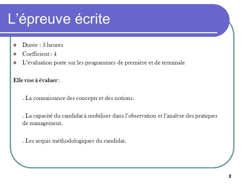 3 Lépreuve écrite Le sujet est composé dun titre qui permet au candidat davoir une première approche du thème traité.