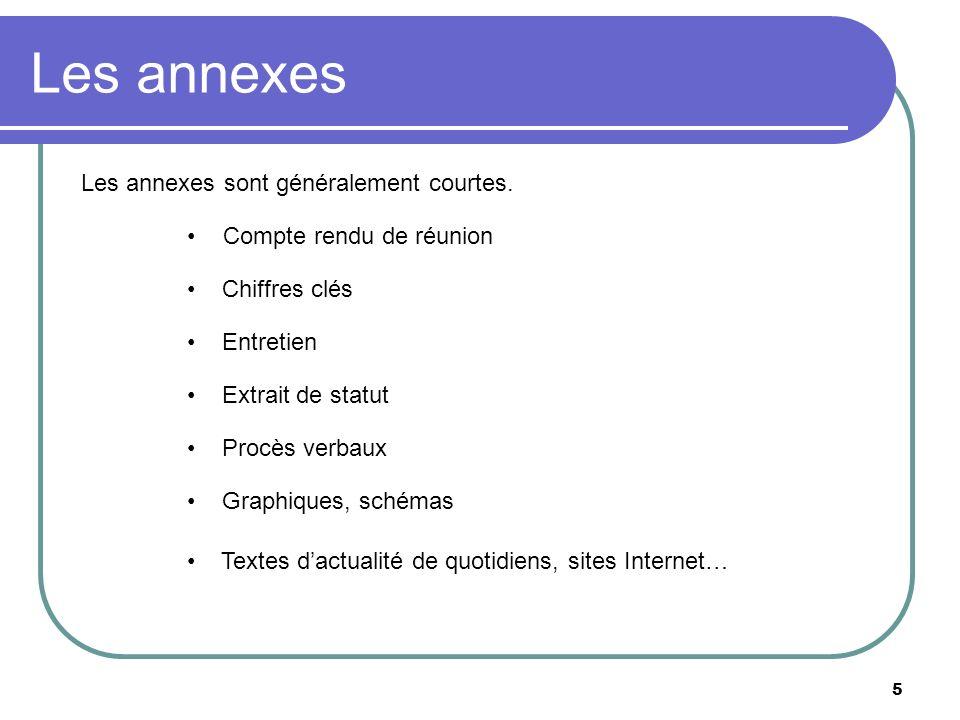 5 Les annexes Compte rendu de réunion Chiffres clés Entretien Extrait de statut Procès verbaux Graphiques, schémas Les annexes sont généralement court