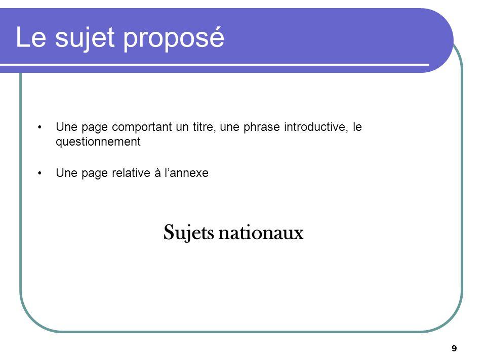 9 Le sujet proposé Une page comportant un titre, une phrase introductive, le questionnement Une page relative à lannexe Sujets nationaux