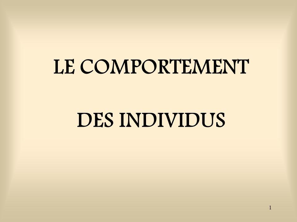1 LE COMPORTEMENT DES INDIVIDUS