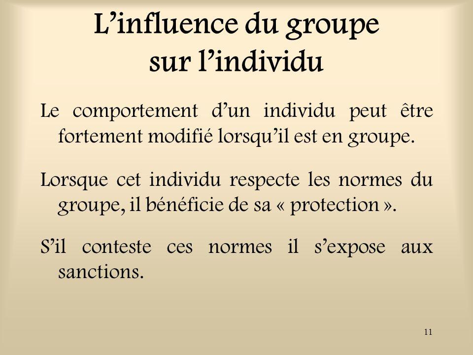 11 Linfluence du groupe sur lindividu Le comportement dun individu peut être fortement modifié lorsquil est en groupe. Lorsque cet individu respecte l