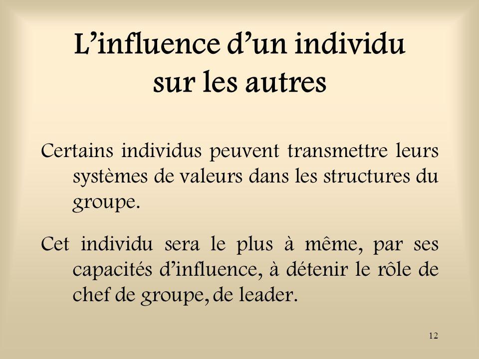 12 Linfluence dun individu sur les autres Certains individus peuvent transmettre leurs systèmes de valeurs dans les structures du groupe. Cet individu