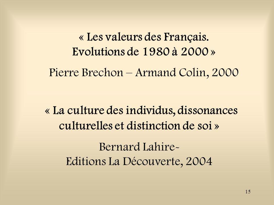 15 « Les valeurs des Français. Evolutions de 1980 à 2000 » Pierre Brechon – Armand Colin, 2000 « La culture des individus, dissonances culturelles et