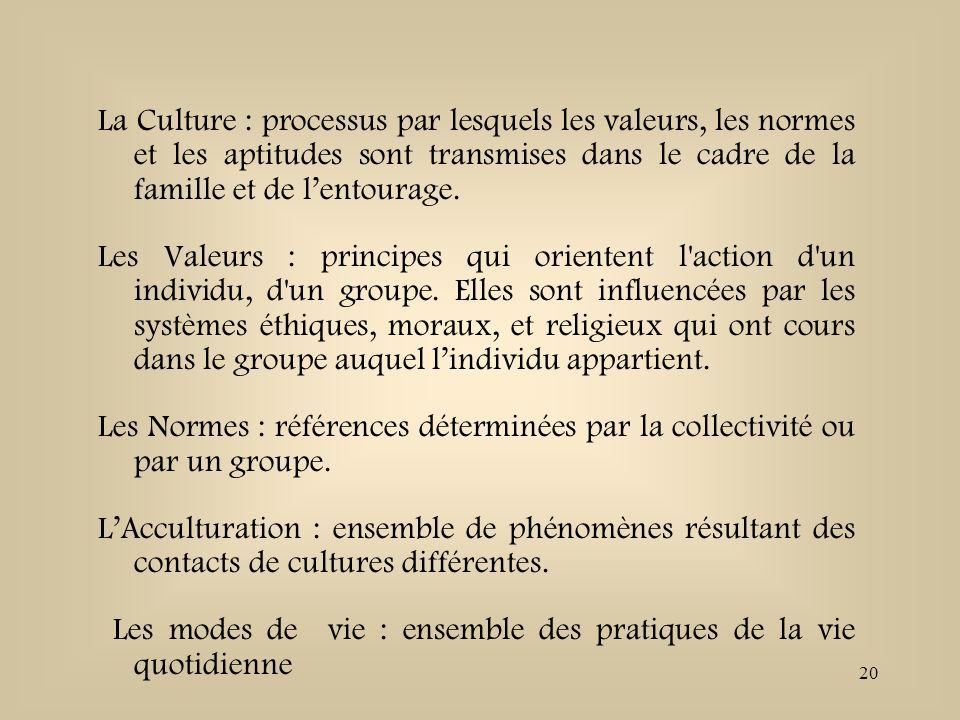 20 La Culture : processus par lesquels les valeurs, les normes et les aptitudes sont transmises dans le cadre de la famille et de lentourage. Les Vale