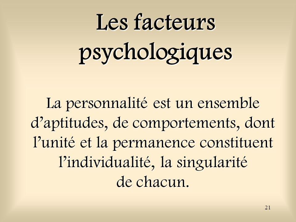 21 La personnalité est un ensemble daptitudes, de comportements, dont lunité et la permanence constituent lindividualité, la singularité de chacun. Le