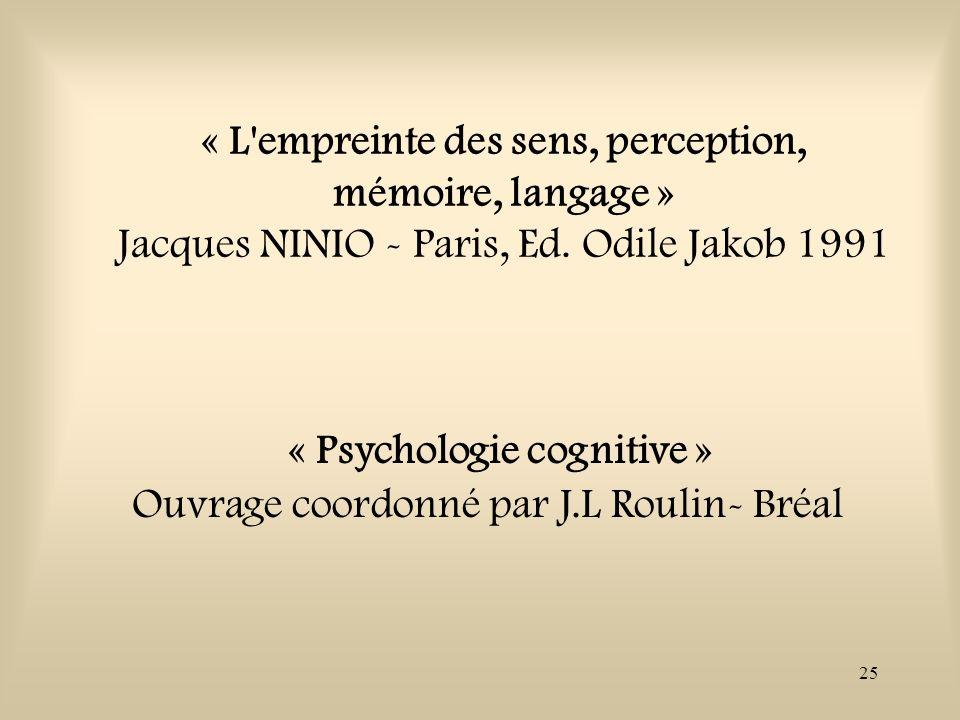 25 « L'empreinte des sens, perception, mémoire, langage » Jacques NINIO - Paris, Ed. Odile Jakob 1991 « Psychologie cognitive » Ouvrage coordonné par