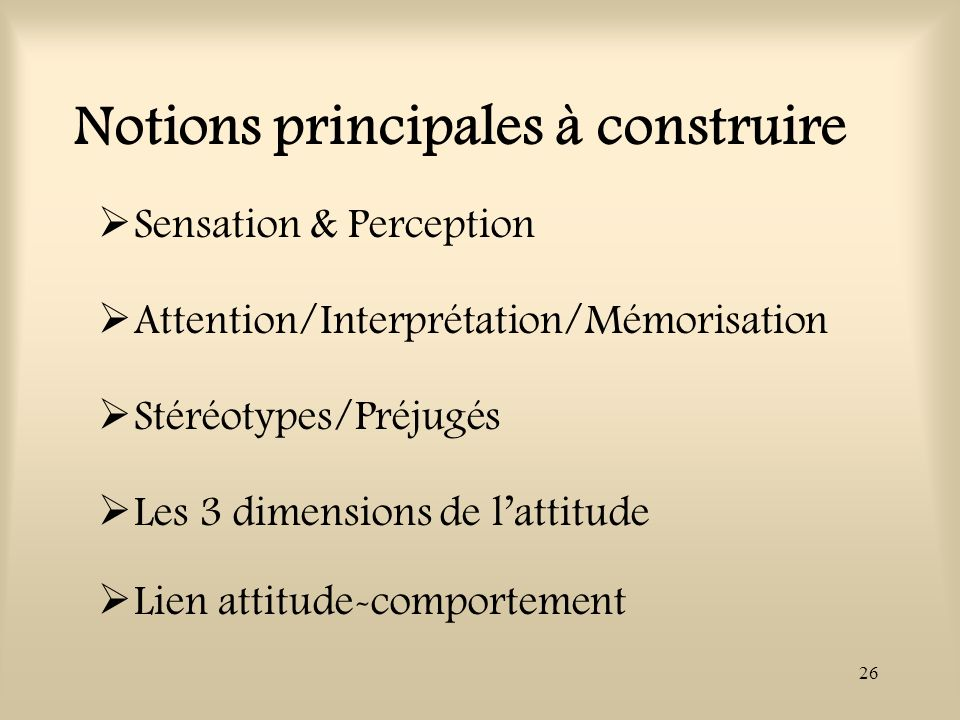 26 Notions principales à construire Sensation & Perception Attention/Interprétation/Mémorisation Stéréotypes/Préjugés Les 3 dimensions de lattitude Li