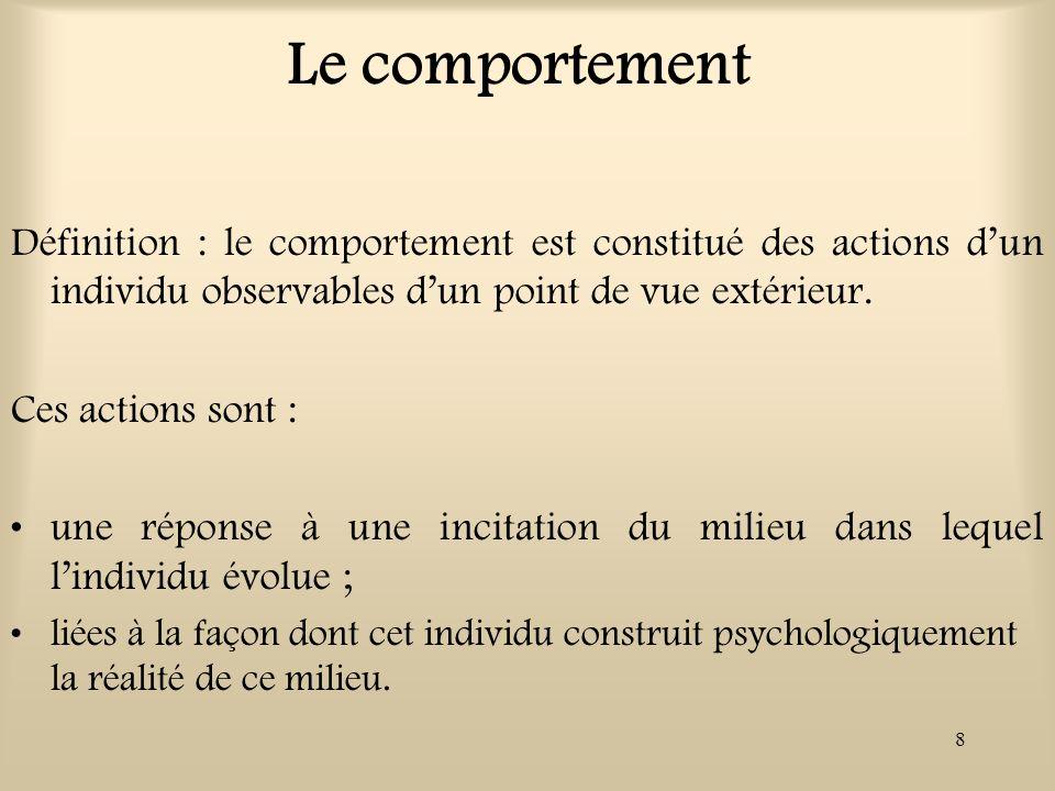 8 Le comportement Définition : le comportement est constitué des actions dun individu observables dun point de vue extérieur. Ces actions sont : une r