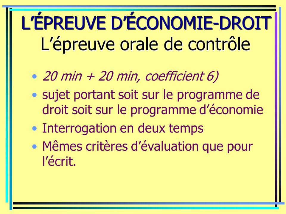 LÉPREUVE DÉCONOMIE-DROIT Lépreuve orale de contrôle LÉPREUVE DÉCONOMIE-DROIT Lépreuve orale de contrôle 20 min + 20 min, coefficient 6) sujet portant