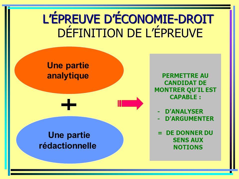 LÉPREUVE DÉCONOMIE-DROIT DÉFINITION DE LÉPREUVE LÉPREUVE DÉCONOMIE-DROIT DÉFINITION DE LÉPREUVE Une partie analytique Une partie rédactionnelle PERMET