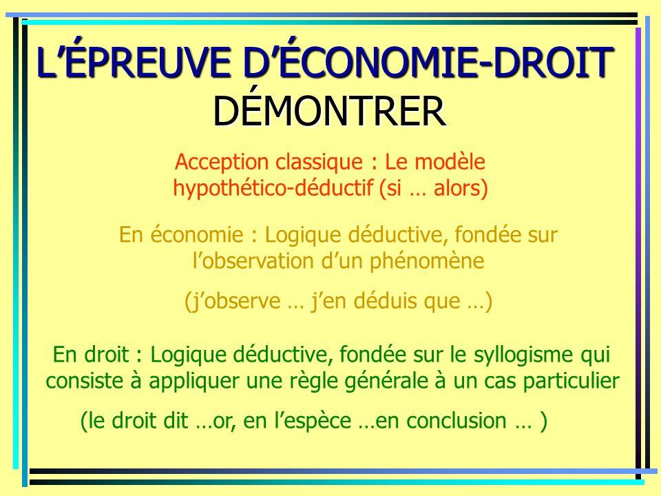 LÉPREUVE DÉCONOMIE-DROIT DÉMONTRER Acception classique : Le modèle hypothético-déductif (si … alors) En droit : Logique déductive, fondée sur le syllo
