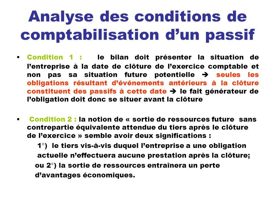 Analyse des conditions de comptabilisation dun passif Condition 1 : le bilan doit présenter la situation de lentreprise à la date de clôture de lexerc