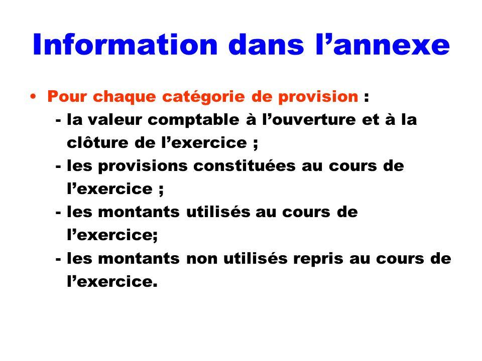 Information dans lannexe Pour chaque catégorie de provision : - la valeur comptable à louverture et à la clôture de lexercice ; - les provisions const
