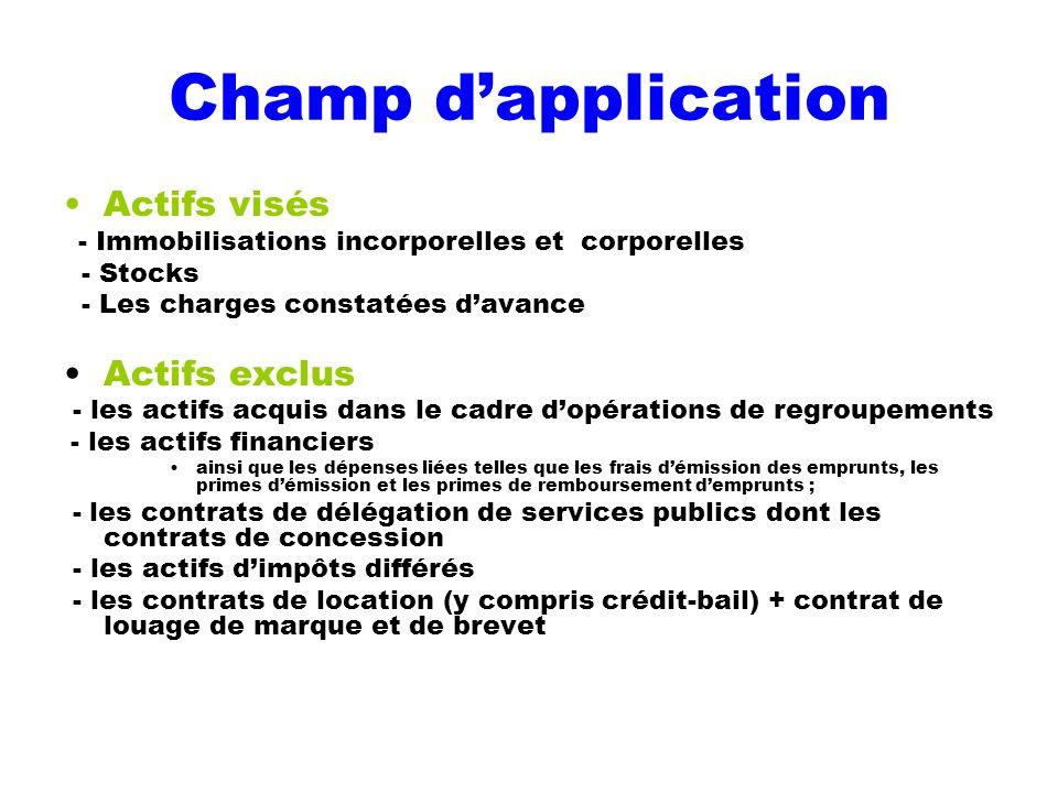 Champ dapplication Actifs visés - Immobilisations incorporelles et corporelles - Stocks - Les charges constatées davance Actifs exclus - les actifs ac