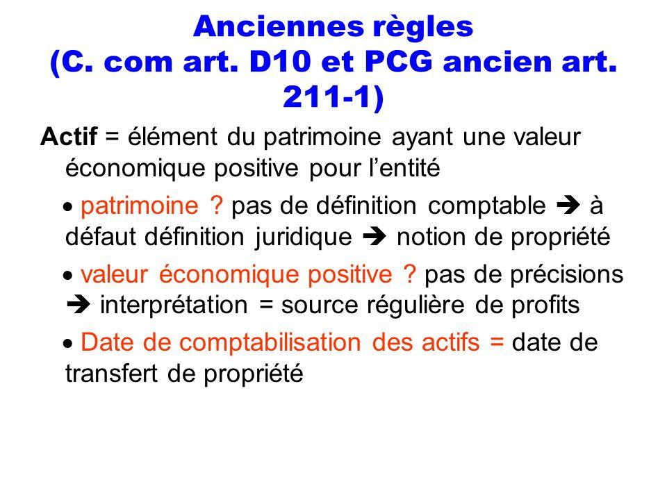 Anciennes règles (C. com art. D10 et PCG ancien art. 211-1) Actif = élément du patrimoine ayant une valeur économique positive pour lentité patrimoine