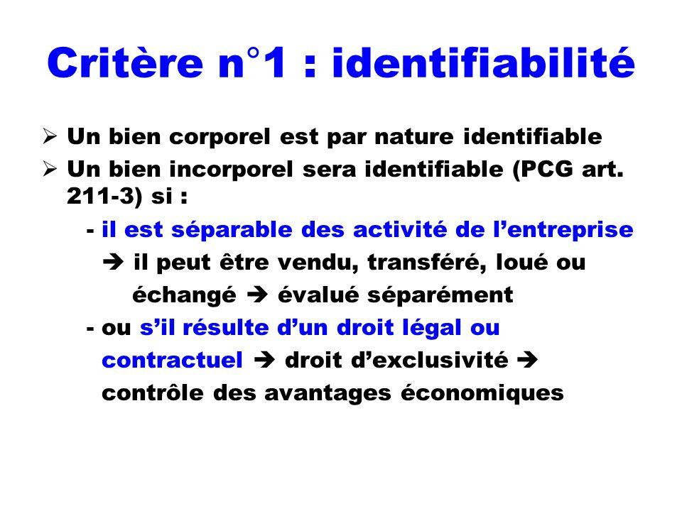 Critère n°1 : identifiabilité Un bien corporel est par nature identifiable Un bien incorporel sera identifiable (PCG art. 211-3) si : - il est séparab