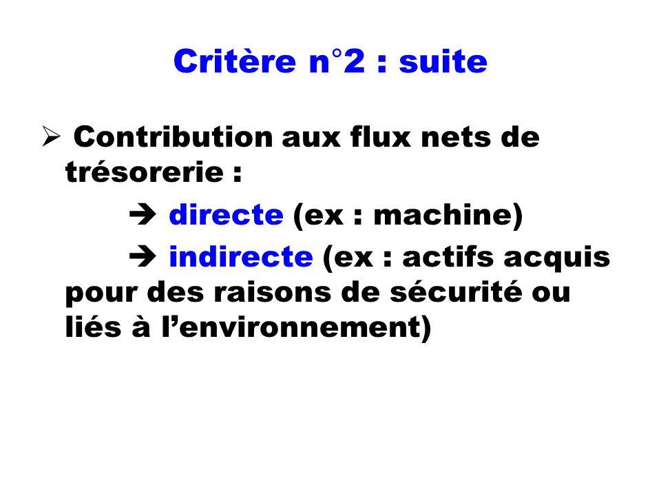 Critère n°2 : suite Contribution aux flux nets de trésorerie : directe (ex : machine) indirecte (ex : actifs acquis pour des raisons de sécurité ou li