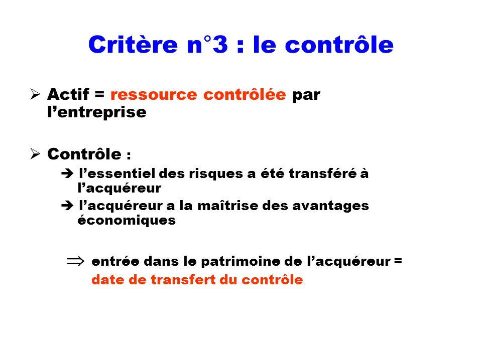 Critère n°3 : le contrôle Actif = ressource contrôlée par lentreprise Contrôle : lessentiel des risques a été transféré à lacquéreur lacquéreur a la m