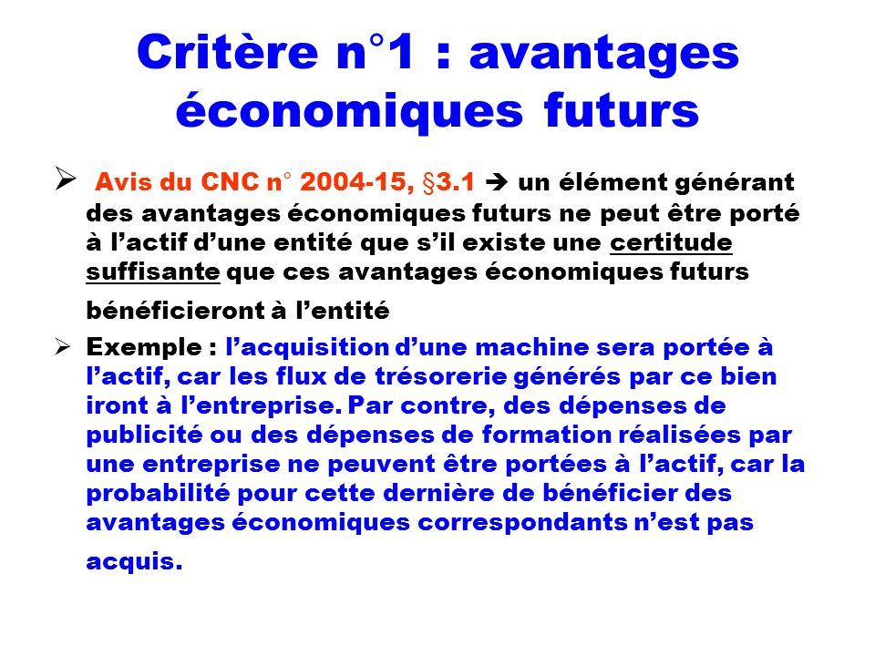 Critère n°1 : avantages économiques futurs Avis du CNC n° 2004-15, §3.1 un élément générant des avantages économiques futurs ne peut être porté à lact