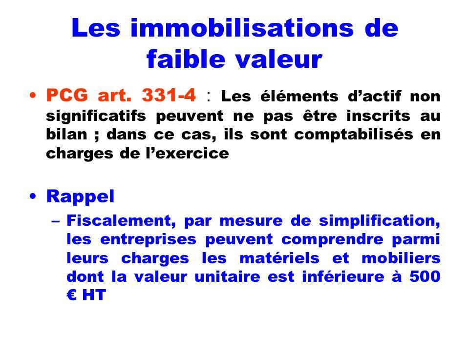 Les immobilisations de faible valeur PCG art. 331-4 : Les éléments dactif non significatifs peuvent ne pas être inscrits au bilan ; dans ce cas, ils s