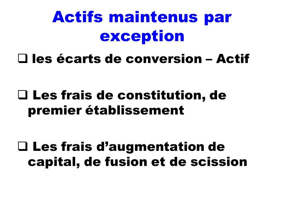 Actifs maintenus par exception les écarts de conversion – Actif Les frais de constitution, de premier établissement Les frais daugmentation de capital