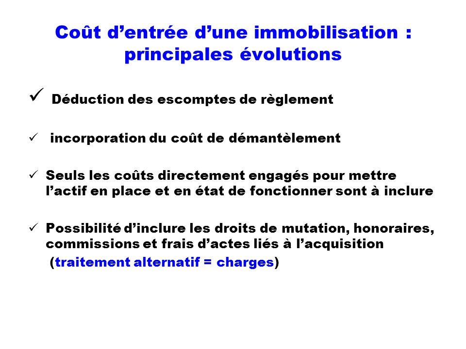 Coût dentrée dune immobilisation : principales évolutions Déduction des escomptes de règlement incorporation du coût de démantèlement Seuls les coûts