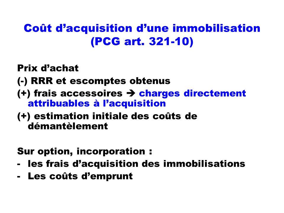Coût dacquisition dune immobilisation (PCG art. 321-10) Prix dachat (-) RRR et escomptes obtenus (+) frais accessoires charges directement attribuable
